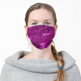 Hot Pink Patchwork Fabric Texture Face Mask