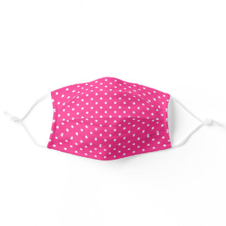 Hot Pink Polka Dots Pattern Adult Cloth Face Mask