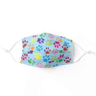 Hot Pink Purple Dog Paws On Light Summer Sky Blue Adult Cloth Face Mask