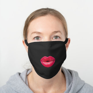Hot Pink Red Lips Black Cotton Face Mask