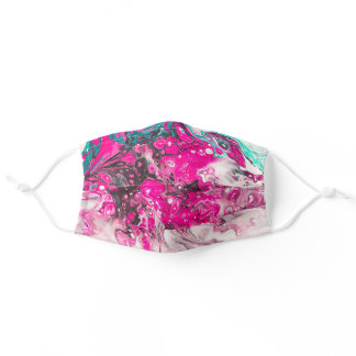 Hot Pink, Teal, White, & Brown Paint Pour Pattern Adult Cloth Face Mask