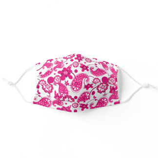 Hot Pink   White Paisley Floral Swirls Pattern Adult Cloth Face Mask