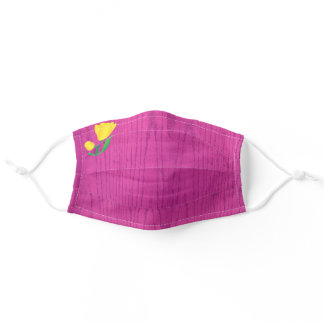 Hot Pink Wood Grain Background With Yellow Tulip Adult Cloth Face Mask