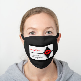 Hot Red Lips Salon Spa MakeUp Artist Name Black Cotton Face Mask
