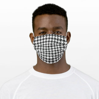 Houndstooth, black and White Adult Cloth Face Mask