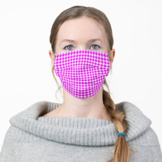 Houndstooth Hot Pink on White Pattern Adult Cloth Face Mask