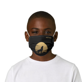 Howling Wolf and Moon Black Gold Kids' Cloth Face Mask