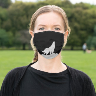 Howling  wolf  silhouette adult cloth face mask