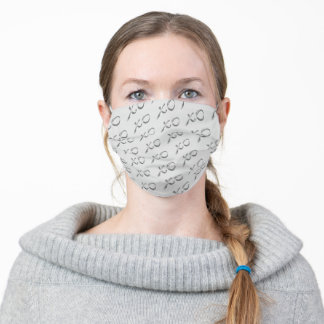 Hugs & Kisses in Silver on Gray Cloth Face Mask