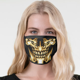 Human Skull Black and Gold Face Mask