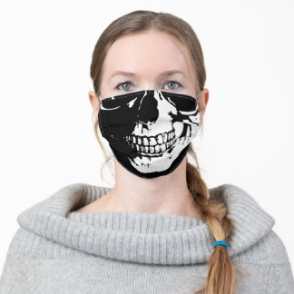 Human skull Black and White drawing Adult Cloth Face Mask