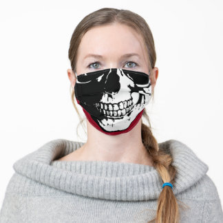 Human skull Burgundy Red drawing Adult Cloth Face Mask