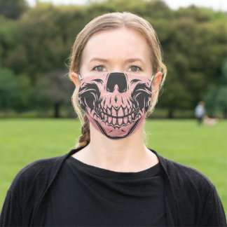 Human Skull Face Black and Rose Pink Gold Glitter Adult Cloth Face Mask