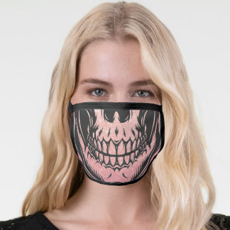 Human Skull Face Black and Rose Pink Gold Glitter Face Mask