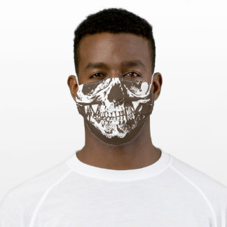 Human skull Simple Brown Afro Skin Adult Cloth Face Mask