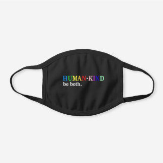 Humankind Be Both Kindness Awareness Black Cotton Face Mask