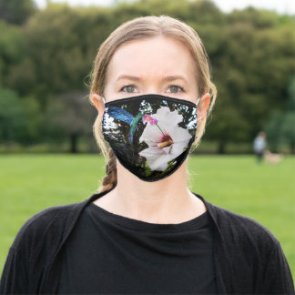 HUMMINGBIRD AND ROSE OF SHARON FLOWER ADULT CLOTH FACE MASK