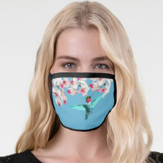 Hummingbird and white orchid flowers face mask