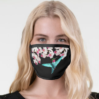Hummingbird and white orchid flowers on black face mask