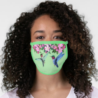 Hummingbirds & pink apple flowers on green face mask