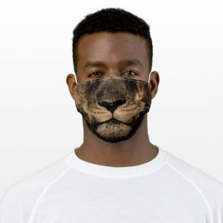 Humor Funny Lion Face Black Brown Tan Adult Cloth Face Mask