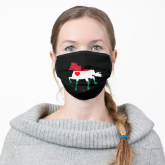 Hungary flag & Horse Running - Heart/face mask