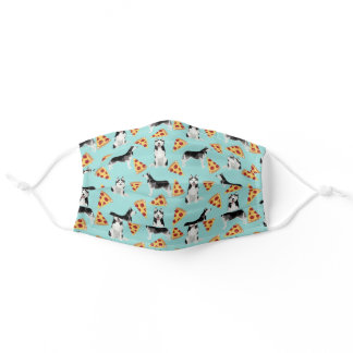 Husky dogs pizza light blue adult cloth face mask