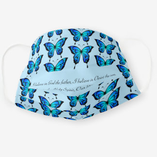 I Believe Wear for Church Pretty Blue Butteries Cloth Face Mask