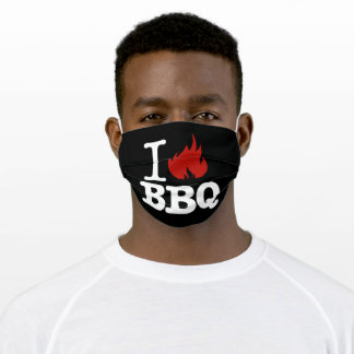 I Love BBQ Adult Cloth Face Mask