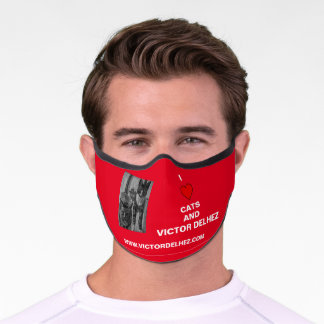 I love cats Premium Face Mask (red)