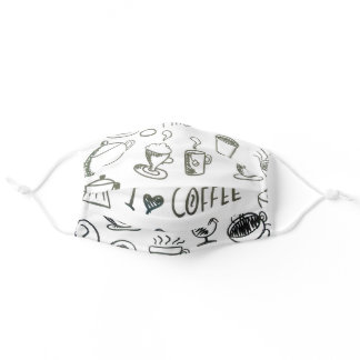 I Love Coffee Illustration and Text Adult Cloth Face Mask