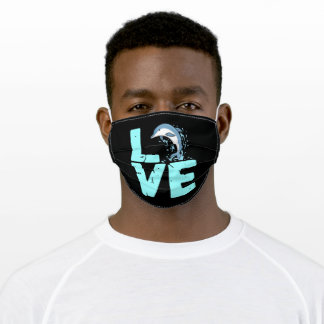 I Love Dolphins Save The Sea Creatures Adult Cloth Face Mask