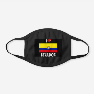 I Love Ecuador with flag of Ecuador Black Cotton Face Mask