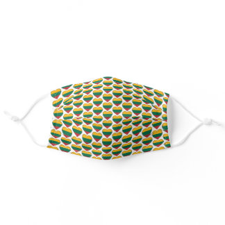 I Love Lithuania Lithuanian Flag Hearts Pattern Adult Cloth Face Mask
