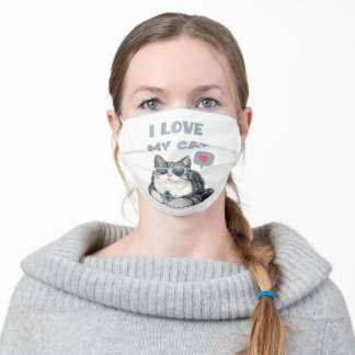 I love my cat, Exotic shorthair cat Adult Cloth Face Mask