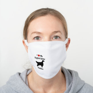 I Love My English Setter Dog Silhouette White Cotton Face Mask