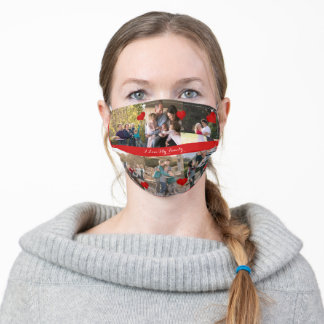 I love my family Upload 6 Photos Collage Adult Cloth Face Mask
