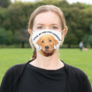 I Love My Red Fox Labrador Adult Cloth Face Mask