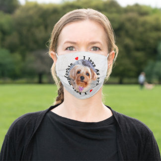 I love my Yorkie Female Yorkshire Terrier Dog Adult Cloth Face Mask