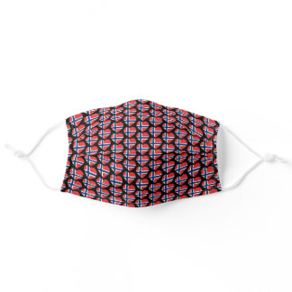 I Love Norway Norwegian Flag Hearts Pattern Adult Cloth Face Mask