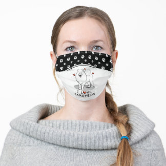 I Love Samoyeds - Cute dog with red love hearts Adult Cloth Face Mask