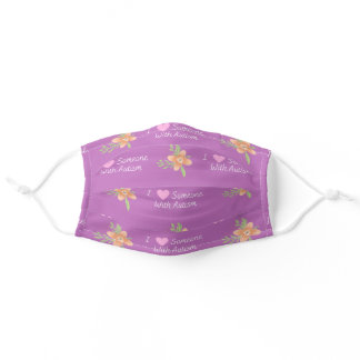 """I Love Someone With Autism"" Pink Girly Flower Adult Cloth Face Mask"
