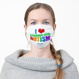 I Love Someone With Autism Rainbow Personalized Adult Cloth Face Mask