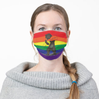 I Love You California Bear Hugging State--Rainbow Adult Cloth Face Mask