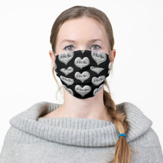 I love you grey heart metal effect black pattern adult cloth face mask