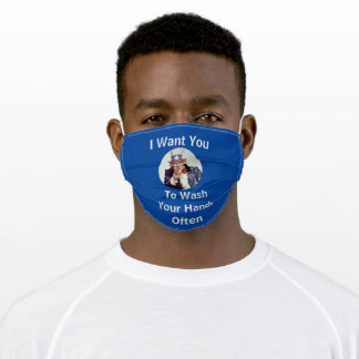 I Want You to Wash Your Hands Often Says Uncle Sam Adult Cloth Face Mask