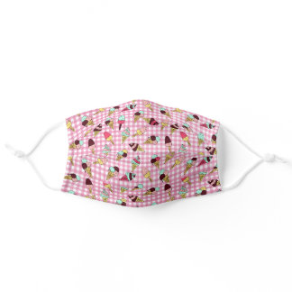 ice cream cone doodles on gingham adult cloth face mask