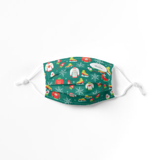 Ice Skates and Snowflakes Teal Monogram Pattern Kids' Cloth Face Mask