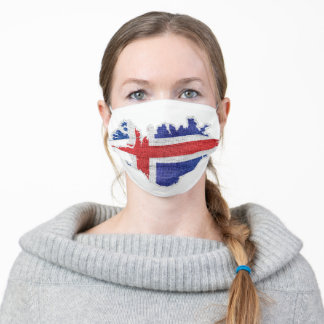 Iceland Flag Map Adult Cloth Face Mask