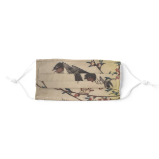 Ichiryusai Hiroshige Swallows & Wild Cherry Adult Cloth Face Mask